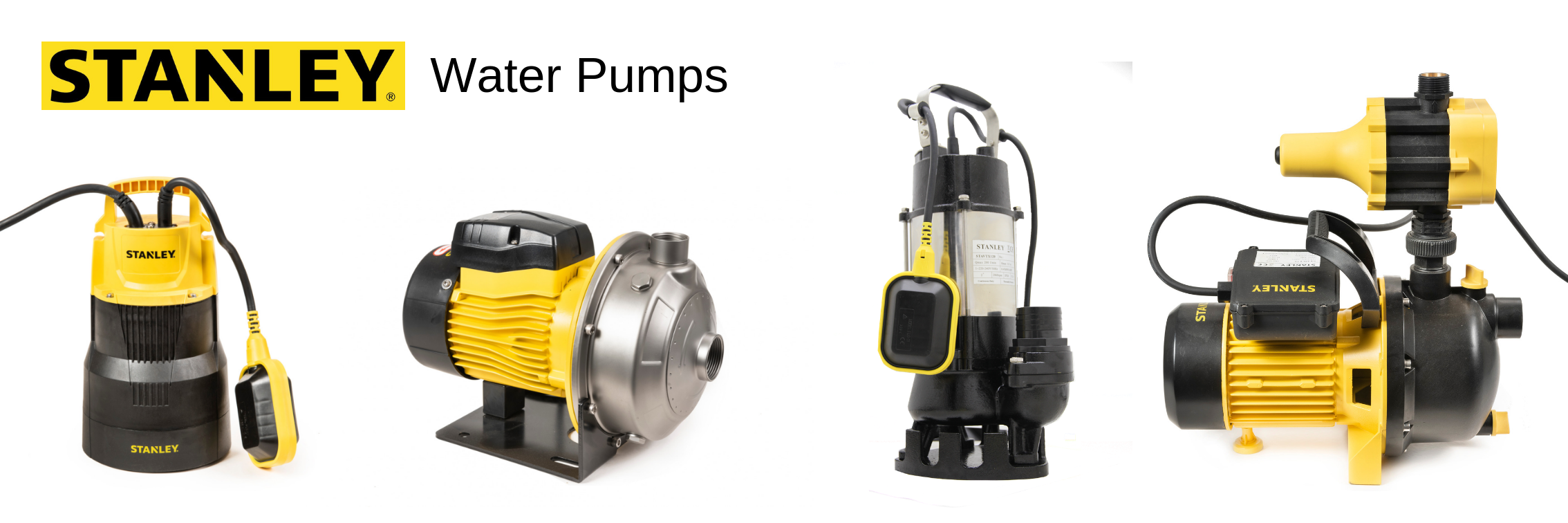 A range of water pumps from Stanley available from Perkinz Farming products